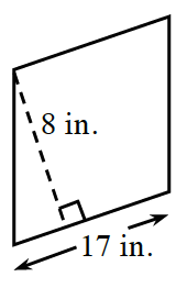 A parallelogram, slanted right, with bottom side, labeled 17 in. A right triangle is created by a line segment of 8 in, drawn from the top left vertex, to the bottom side, at a 90 degree angle to the bottom.
