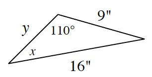 A triangle with sides labeled as follows: left, Y, bottom, 16 inches, right, 9 inches, and angles labeled, top, 110 degrees, left bottom, X.