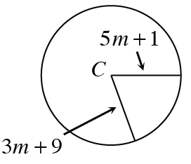 A circle with center labeled C, 2 separate segments, from C to the circle, one labeled, 3, M, + 9, and, other labeled, 5, M, + 1.