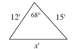 A triangle with side lengths 12 feet, 15 feet, and X feet. 68 degrees is in between the side lengths 12 feet and 15 feet.
