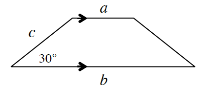 A trapezoid with bases labeled, A, on top, and, B, on bottom, and marked with single arrow. Left side, labeled, c. Bottom left angle, labeled, 30 degrees.