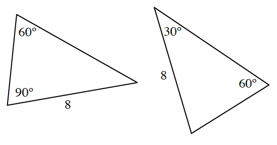2 triangles, different orientation, labeled as follows: Left triangle: top angle, 60 degrees, bottom left angle, 90 degrees, ,bottom side, 8. Right triangle: left side, 8, top left angle, 30 degrees, right angle, 60 degrees.