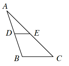 Triangle A, B, C with point, D, on side, AB, & point, E, on side, AC, with segment from, D, to, e.