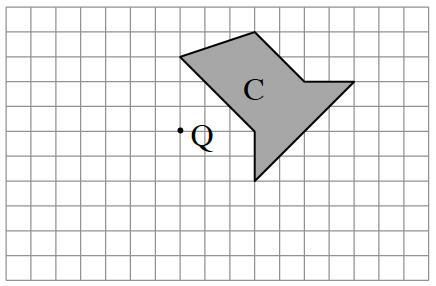 Q is the point of rotation. Figure C starts 3 units up from Q. From the start, draw diagonally up 1, & right 3. Then draw diagonally down 2, right 2. Then right, 2. Then draw diagonally down 4, left 4. Then, up, 2. Finally, draw diagonally up 3 and left 3 to enclose Figure C.