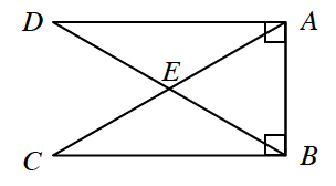 Line segments, A,C, & B,D, intersect at E, with line segment from A, to B, with angles D,A,B, & C,B,A, each a right angle.