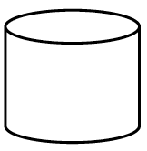 A 3 dimensional diagram, showing the front and top, of a can shape.