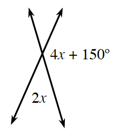2 diagonal intersecting lines, with angles labeled as follows: Right, 4 x + 150 degrees,  bottom, 2 x.