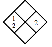 Diamond Problem. Left 1 half, Right 2, Top blank,  Bottom blank