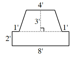 8 sided Figure, Constructed & labeled as follows, starting in the lower left corner. up 2', right 1', up & right an unknown amount, across 4', down & right, same slope as other side, an unknown amount, right 1', down an unknown amount, left 8', enclosing the figure. Horizontal Dashed segment connects the 1' sides, & another dashed segment, perpendicular to it, extending to the top, labeled 3'.