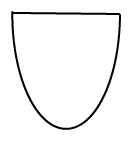 An enclosed shape like a parabola with a line connecting the two ends.