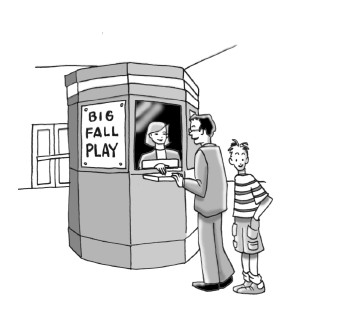 People buying tickets to the play.