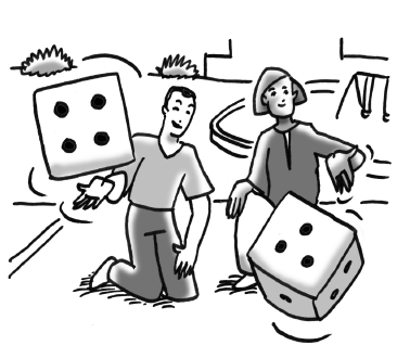 Two adult rolling dice