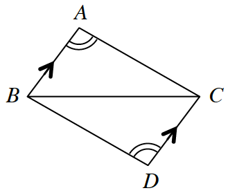 Triangle A, B, C and triangle B, C, D are connected to form a quadrilateral with side B, C, in common. Angle A and angle D are marked with two arcs. Side A, B and side C, D are both marked with one arrow each.