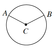Circle with center, c, points, a, and, b, with line segments from, c, to a, and from c, to b.