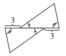 Two triangles, the first rotated 180 degrees and translated 3 to the right. Both triangles have one angle marked with one tick mark and a second angle marked with two tick marks.