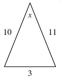 Triangle, bottom horizontal side labeled 3, left side labeled 10, right side labeled 11, top angle labeled, x.
