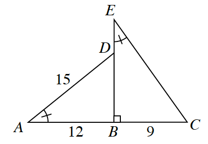 Two right triangles connected side by side with one side longer than the second. The right triangle A, D, B, on the left has a bottom leg of 12 and a hypotenuse of 15. Angle A is marked with a tick mark. Angle B is 90 degrees. The right triangle E, B, C, has a bottom leg of 9. Angle E is marked with a tick mark. Side B, D is vertical and connected to B, E, though E is higher than D.