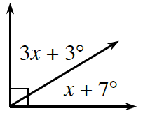Two adjacent angles together form a 90 degree angle. The angle on the left is 3 x + 3 degrees. The angle on the right is x + 7 degrees.