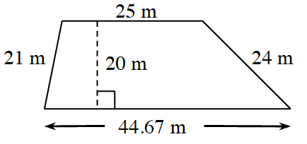 A trapezoid with bottom base 44.67 m and top base 25 m, left side 21 m and right side 24 m. A right triangle is created by a line segment of 20 m drawn from the upper left vertex to the base at right angles.