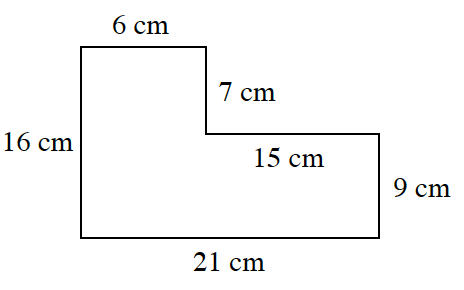 An enclosed figure starting at the upper left corner: right 6 centimeter, down 7 centimeter, right 15 centimeter, down 9 centimeter, left 21 centimeter, up 16 centimeter to enclose the figure.