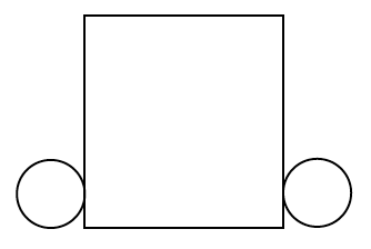 A square with a smaller circle attached to the bottom left and a smaller circle attached to the bottom right.