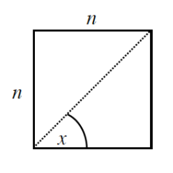 Square with top & left sides labeled, n, with dashed diagonal from lower left to upper right vertex. Angle between diagonal & bottom side, labeled, x.