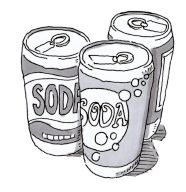 Three cans of soda