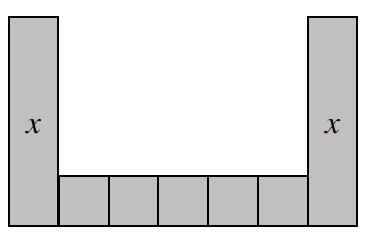 Algebra Tile Diagram: Five positive unit tiles are side by side forming a row. On either side of this row is a vertically placed positive x tile.