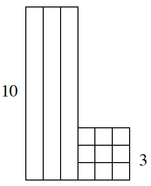 A row of 3 vertical Tens blocks, side by side, with 3 rows of 3 one blocks connected on the lower right side.