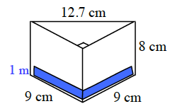 A blue layer, 1 meter high, is drawn on the bottom layer of the prism.
