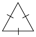 Triangle labeled Equilateral triangle, with sides labeled as follows: all 3 sides, 1 tick mark