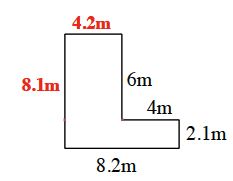 Unknown lengths added to the figure as follows: top is 4.2 m, left side is 8.1 meters.