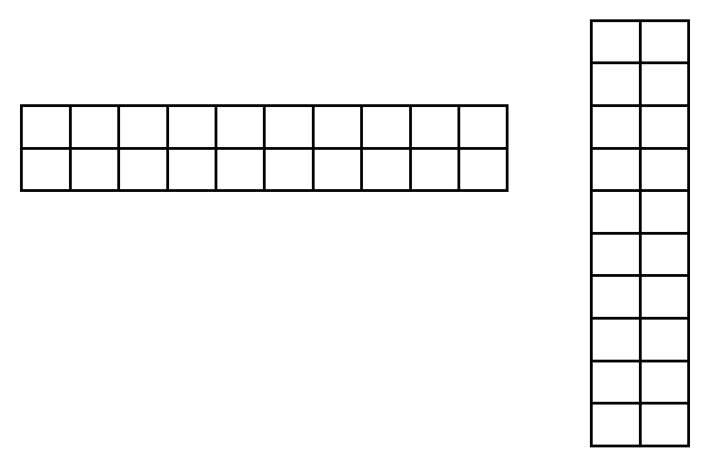 2 rows of 10, seats placed horizontally, on the left, and 10 rows of 2 seats, placed vertically, on the right.