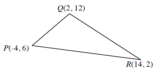 Triangle, P Q R, with vertices labeled with the following coordinates: P, (negative 4, comma 6), Q, (2, comma 12), & R  (14 comma 2).