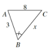 Smaller Triangle, A,B,C, with sides labeled as follows: A,C, is 8. A,B, is 3. B,C, is x.