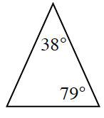 Triangle with angles 38 degrees and 79 degrees.