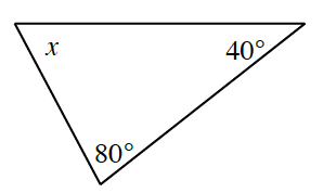 Triangle with angles x at top left, 80 degrees at bottom, and 40 degrees at upper right.