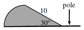 Adjacent angles forming a linear pair, with line segment labeled pole, shaded left angle, labeled 30 degrees, top ray of angle labeled 10.