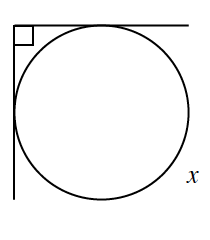 2 rays form an angle, outside a circle, labeled, 90 degrees. Each ray, tangent to the circle, divide the circle into 2 arcs, smaller is unlabeled, larger labeled, x.