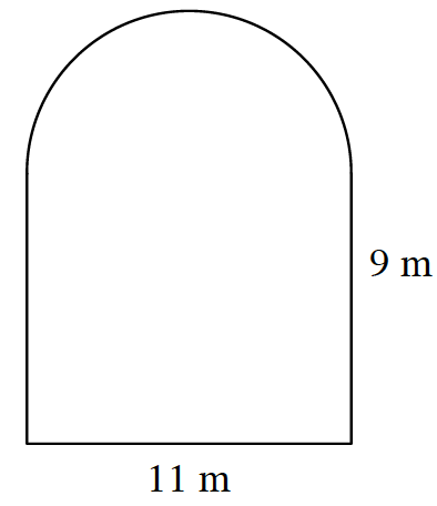 A doorway arch, bottom labeled, 11 meters, vertical part of the right side, labeled 9 meters.