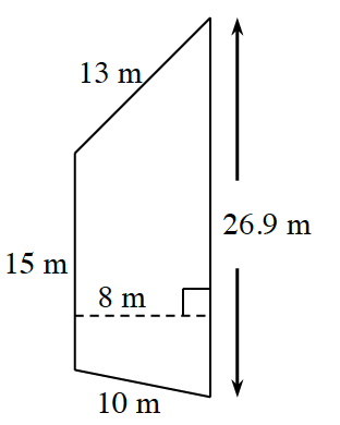 A trapezoid with vertical parallel bases: left is 15 m, and right is 26.9 m, and non parallel legs, of 10 m, and 13 m. A dashed line, labeled 8 m, perpendicular to both bases, connects the bases.