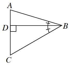 Triangle A, B, C. Two internal triangles A, B, D and D, B, C are created by a line segment drawn from the vertex, B, perpendicular to the base, A, C, at D. Angle D is 90 degrees. Angle A, B, D and angle D, B, C are both marked with one tick mark.