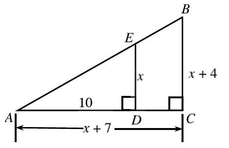 A right triangle, ADE, has horizontal side, AD, labeled 10, and vertical side, ED, labeled, x. The horizontal side is extended, past the right angle, creating, a horizontal leg, AC, labeled, x + 7, of a larger right triangle, ABC, with vertical leg, BC, labeled, x + 4.