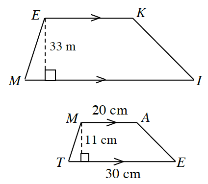 Two similar trapezoids in centimeters. The first trapezoid, E, K, I, M, has a bottom base M, L, and a top base, E, K. A perpendicular line drawn from E to M, l, has a length of 33. The second trapezoid M, A, E, T, has bottom base, T, E, of 30, and top base, M, A, of 20. A perpendicular line drawn from M to T, E, has a length of 11.