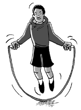 Student jumping rope