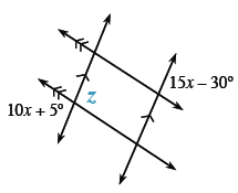 About the point of intersection of the bottom parallel line and the left transversal line are angles starting at the top left going clockwise and labeled as follows: blank, z, blank, and 10 x + 5 degrees.