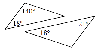 Two triangles. The first triangle has two angles 18 degrees and 140 degrees. The second triangle has two angles 18 degrees and 21 degrees.