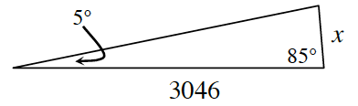 A triangle with two side lengths of x and 3046 and two angles of 85 degrees opposite the unknown side, and 5 degrees opposite the, x, side.
