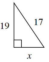 A right triangle with a height of 19, base of X, and hypotenuse of 17.