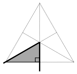 A triangle where from each vertex, a dotted line is drawn to the midpoint of the opposite side. The bottom left right triangle is shaded.